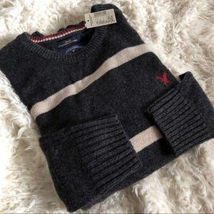 NWT American Eagle striped gray Crewneck Sweater
